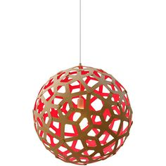 David Trubridge Coral Light Natural/Red - 100cm ($1,520) ❤ liked on Polyvore featuring home, lighting, ceiling lights, red, cable lighting, coral lamp, contemporary lighting, contemporary pendant light and contemporary pendant lighting
