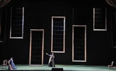 """Alessandro Cameo's minimalistic set design for SF Opera's new production of """"Don Giovanni"""" features 22 large 300 pound mirrors in ornate gilded frames that descend dramatically onto a stage that is virtually empty. Set Theatre, Set Design Theatre, Theatre Stage, Stage Set Design, Church Stage Design, Film Inspiration, Design Inspiration, Scenic Design, Staging"""