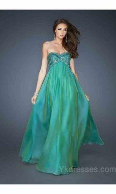 Sweetheart A-Line Chiffon No Waist/Princess Seams Long Prom Dresses ykdress5353