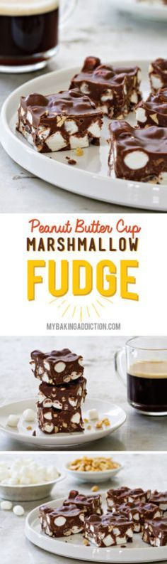 Butter Cup Marshmallow Fudge Peanut Butter Cup Marshmallow Fudge so easy and so delicious!Peanut Butter Cup Marshmallow Fudge so easy and so delicious! Peanut Butter Recipes, Fudge Recipes, Peanut Butter Cups, Candy Recipes, Dessert Recipes, Sweet Desserts, Just Desserts, Delicious Desserts, Marshmallow Fudge