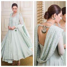 Mahira Khan in a beautiful sea foam anarkali Anarkali Dress, Pakistani Dresses, Indian Dresses, Indian Outfits, Anarkali Suits, Punjabi Suits, Lehenga, Indian Attire, Indian Ethnic Wear
