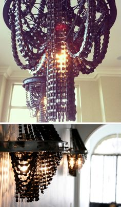 Chandeliers made from salvaged bicycle parts. #upcycling #bike