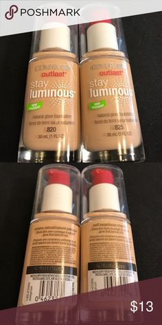 Covergirl Outlast Stay Luminous Foundations New Covergirl Outlast Stay Luminous Foundations New 820 Creamy Natural & 825 Buff Beige. Price is for both. :) Sephora Makeup Foundation