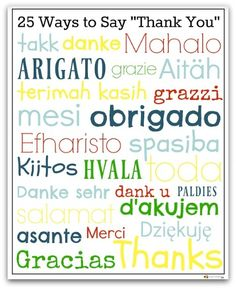 """Free printable of 25 ways to say """"thank you"""" in different languages. #multiculturalkids #freeprintable"""