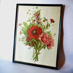 Jean-Louis Prévost- Bouquet of Foxglove, Poppy, and Peony- vintage print