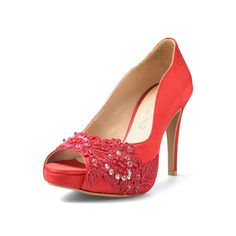Miss Ace 2 Red Wedding Heels Satin Wedding Shoes, Wedding Heels, Red Wedding, Peep Toe Platform, Peep Toe Pumps, Red Satin, Red Lace, Bridal Heels, Red Heels