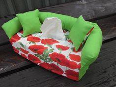 Wesega / Dekoračný obal na papierové vreckovky-zelený a maky