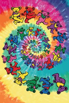 Lose yourself for hours in this fantastic Grateful Dead poster! A trippy tie-dye swirl of lovable Dancing Bears! Check out the rest of our excellent selection of Grateful Dead posters! Need Poster Mounts. Hippie Wallpaper, Trippy Wallpaper, Retro Wallpaper, Aesthetic Iphone Wallpaper, Pattern Wallpaper, Aesthetic Wallpapers, Acid Wallpaper, Bedroom Wall Collage, Photo Wall Collage