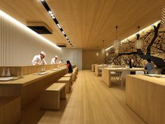 Sushi Restaurant, 2015 - Martim Sousa e Melo Japanese Restaurant Interior, Japanese Interior, Restaurant Interior Design, Restaurant Lighting, Restaurant Concept, Japan Design, Sushi Bar Design, Restaurant Counter, Ramen Restaurant