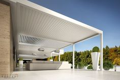 Wall-mounted aluminium pergola with adjustable louvers with built-in lights BIOSHADE ADDOSSATA by TENDA SERVICE: