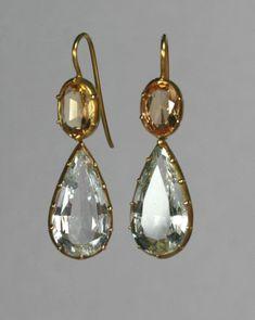 Regency Topaz Earrings Circa 1810 - they look so modern #AntiqueJewelry