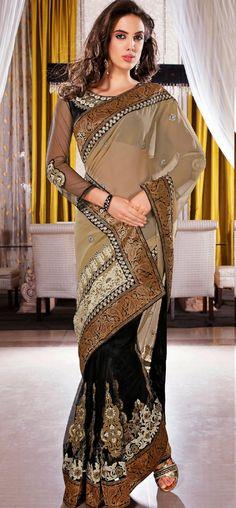 Snazzy beige zari paisley woven border saree: KSR2409