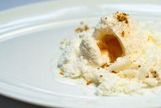 Milk and Honey: Milk Sorbet with Honey Center, Dehydrated Milk Foam, and Milk Snow