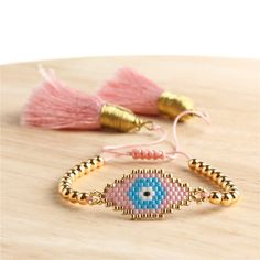 Loom Bracelet Patterns, Bead Loom Bracelets, Bracelet Crafts, Beading Patterns, Eye Jewelry, Tassel Jewelry, Beaded Jewelry, Handmade Jewelry, Rakhi Design