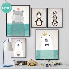 Print Schilderen Cartoon Animals Canvas Poster, Wall Picture voor Home Decoration, Wall Decor FA400