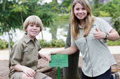 At only fourteen years old, Bindi Irwin exudes her father's confidence, spirit and passion for the world and its creatures. Here with brother Robert.
