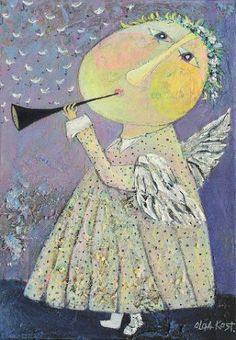 Illustration of angels Seraph Angel, Angel Illustration, Angel Art, Sacred Art, Cool Paintings, Blue Horse, Oeuvre D'art, Collage Art, Art For Kids