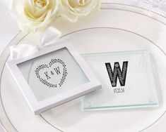 Personalized Glass Coasters- Rustic Wedding - Personalized Favors by Kate Aspen