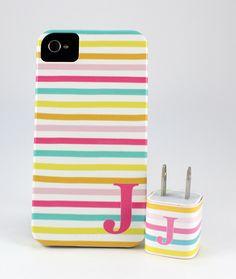 Bright Stripe Monogram iPhone Case   Jenny Bevlin