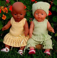 Evelyn KNITTING PATTERN to make Baby Born Doll Clothes - Summer time Outfits
