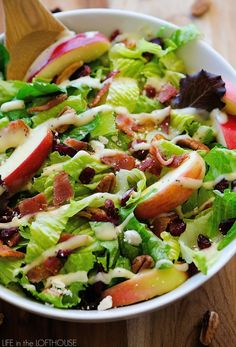autumn chopped salad, salad, bacon, cheese, lettuce, lunch, dinner