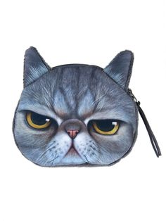 Gray Angry Cat Coin Purse