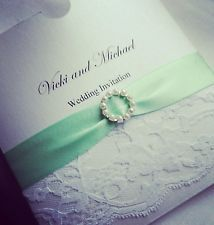 Personalised Wedding Invitations Lace Mint Green White Gold Pearl Cream Vintage. Maybe not mint......charcoal or blush would be perfect.