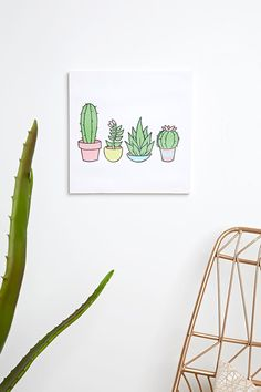 A square canvas art piece designed for wall decor featuring different species of cacti and a succulent and a notched back for hanging.