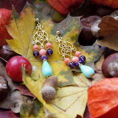 Chandeliers Silber vergoldet mit Koralle, Amethyst und Amazonit von Perlotte Schmuck