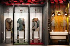 Interior design for Galigin bar Architecture Restaurant, Restaurant Interior Design, Cafe Interior, Office Bathroom, Bathroom Spa, Bathroom Toilets, Wc Design, Toilet Design, Washroom Design