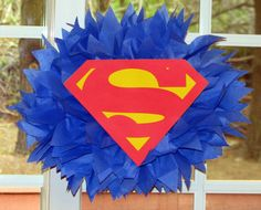 "SUPERMAN Superhero tissue paper pompom kit by TheShowerPlanner, $9.99  @Annie Compean Compean, could be a cute topiary or to hang down from the ceiling. Change the ""S"" to ""L"""