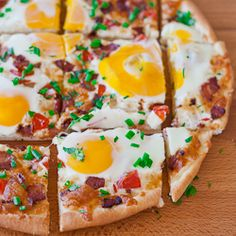 Breakfast Pizza - eggs and bacon on a pizza, what could be better.