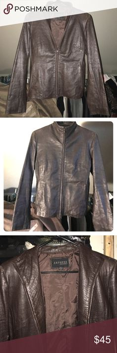 EXPRESS*BUTTER SOFT*LEATHER JACKET LUSCIOUS CHOCOLATE BROWN/LIKE NEW/size/SMALL fits more like a small 6-8 Express Jackets & Coats Blazers