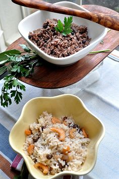 Panamanian Arroz con Frijoles Negros (rice with black beans) and Arroz con Camarones Secos (rice with dried shrimp)