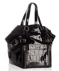 """This item is sold, please refer to our website www.onesavvydesignconsignment.com YSL Black Patent Leather Downtown Tote * double handles with 8"""" drop, fits on shoulder * 19"""" at widest x 13 1/2"""" tall at center x 9 1/2"""" deep  One Savvy Price $625 Retail Price $1,895   One Savvy Design Consignment Boutique 74 Church Street, Montclair, NJ 973-744-0053  www.onesavvydesign.com"""