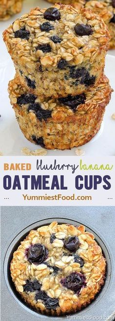 Rate this post Baked Blueberry Banana Oatmeal Cups Healthy blueberry oatmeal muffins! Hard to believe they are light. Baked Blueberry Banana Oatmeal Cups - perfect and healthy way to start your day! Delicious, moist and not too sweet! Very easy to make, f Healthy Baking, Healthy Snacks, Healthy Recipes, Healthy Blueberry Recipes, Healthy Breakfasts, Healthy Drinks, Drink Recipes, Dinner Recipes, Blueberry Desserts