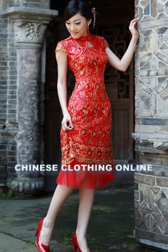 Red Lace Dress with Mandarin Collar and Floral Frog Closure