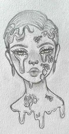 Cool Girl Drawings, Girl Drawing Sketches, Art Drawings Sketches Simple, Pencil Art Drawings, Girl Sketch, Indie Drawings, Drawing Drawing, Cool Sketches, Sketch Art