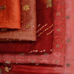Raw silk fabrics--wonderful colors and embellishments.