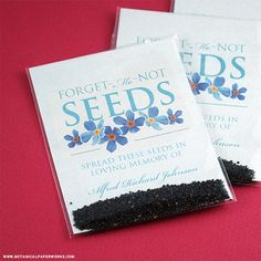 A thoughtful way to provide peace and comfort to those who are grieving, these Forget-Me-Not Seed Packet Memorial Favors can be distributed at the service for guests to take home.