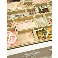 Everyday Jewelry Tray: get a bunch of boxes and glue some pretty paper in the bottom! How easy is that!