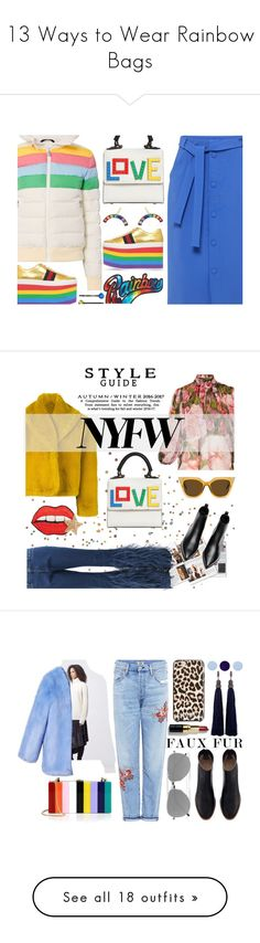 """13 Ways to Wear Rainbow Bags"" by polyvore-editorial ❤ liked on Polyvore featuring waystowear, rainbowbags, Les Petits Joueurs, Marc Jacobs, Perfect Moment, Mother of Pearl, Gucci, IaM by Ileana Makri, Cara and Winter"