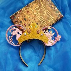 Once Upon a Dream with tiara , sleeping beauty Aurora inspired, print Mouse Ears Disney Day, Cute Disney, Disney Style, Disney Bows, Disney Mickey, Disney Parks, Frog Theme, Disney College Program, Disney Birthday