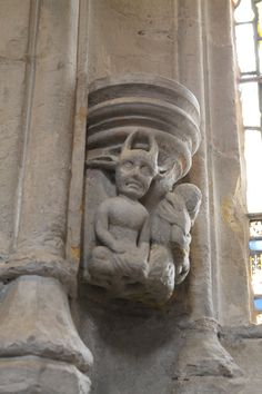 a carving inside Rosslyn Chapel, Scotland Gremlins, Rosslyn Chapel, Early Middle Ages, Interesting Buildings, Knights Templar, Most Beautiful Cities, Green Man, Great Britain, Medieval