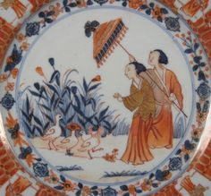 """Chinese export porcelain """"La Dame au Parasol"""" plate with design by Cornelis Pronk c.1740 9″ diameter"""