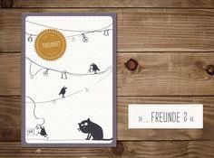 #Klappkarte 'Freunde' mit #Katze Friedegunde. #Grußkarte #Freunde