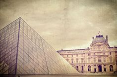 Musee du Louvre with glass pyramid in Paris France 8x10 photograph. $25.00