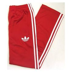 Adidas Firebird Track Pants (Bottoms) in Red/White ($69) ❤ liked on Polyvore featuring bottoms, adidas, boy clothes, adidas sportswear, adidas activewear and track pants