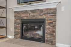 gorgeous natural stone fireplace