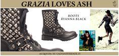 #Grazia propone gli anfibi di #Ash Ryanna di pelle nera e #borchie argentate!